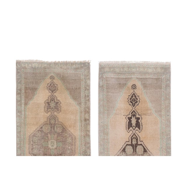 """1970s Distressed Small Turkish Oushak Rug - a Pair 19"""" X 42"""" For Sale - Image 5 of 10"""