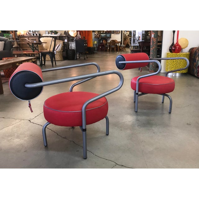 Post Modern Red Danish Armchairs - A Pair For Sale - Image 9 of 10