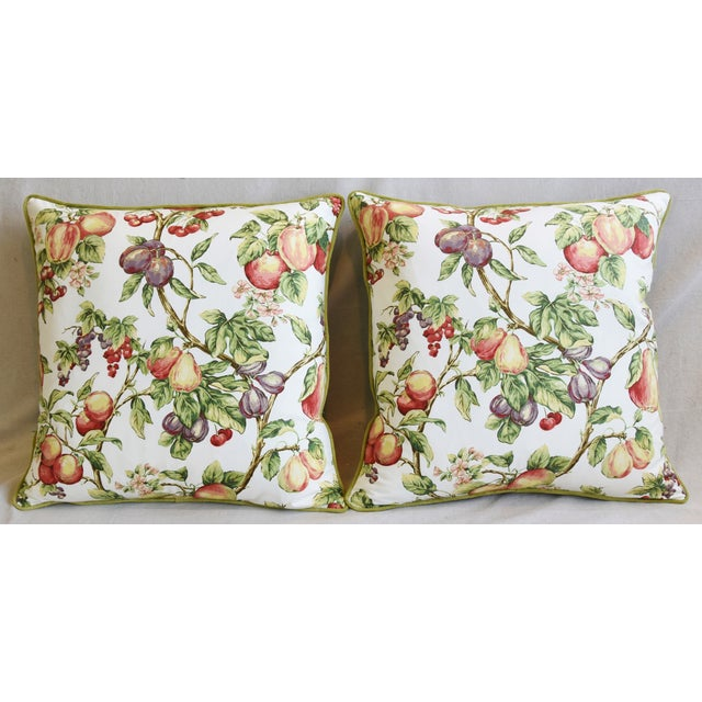Pair of custom-tailored pillows in P. Kaufmann printed cotton fabric with a design of fruit on intertwining floral...