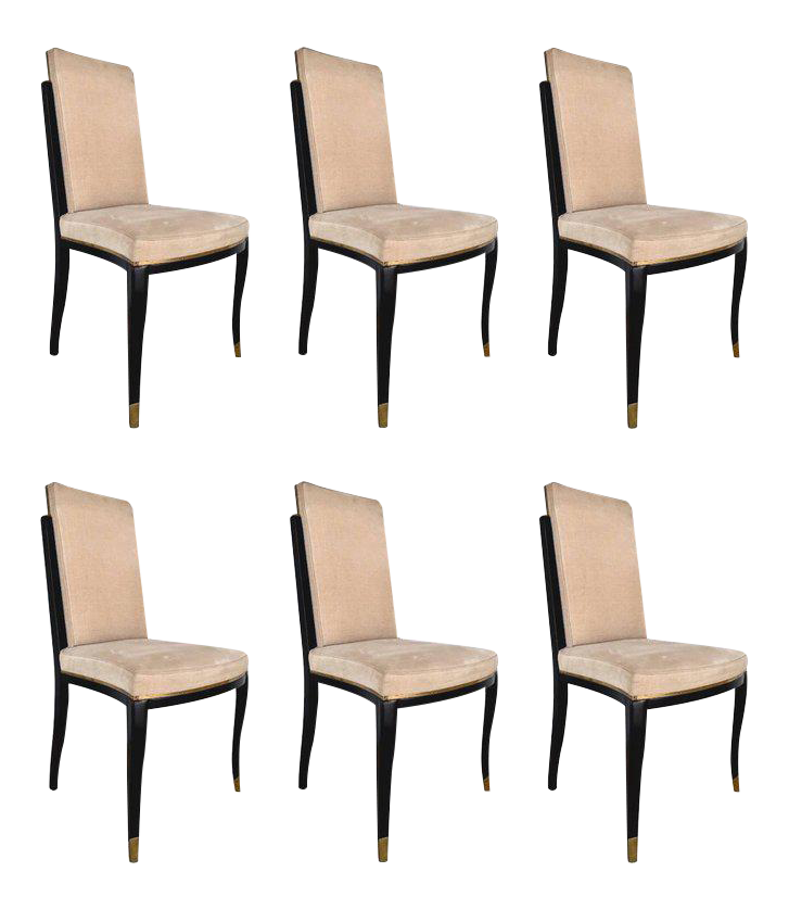 Maison Jansen Black Lacquer And Brass Dining Chairs   Set Of 6