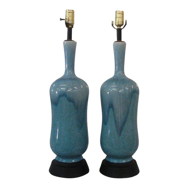Mid-Century Modern Robin Egg Blue Glazed Lamps - A Pair - Image 1 of 10