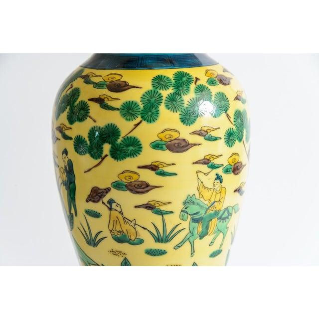 Light Yellow Japanese Kutani Porcelain Vase Table Lamp With Custom Shade, C. 1940 For Sale - Image 8 of 13