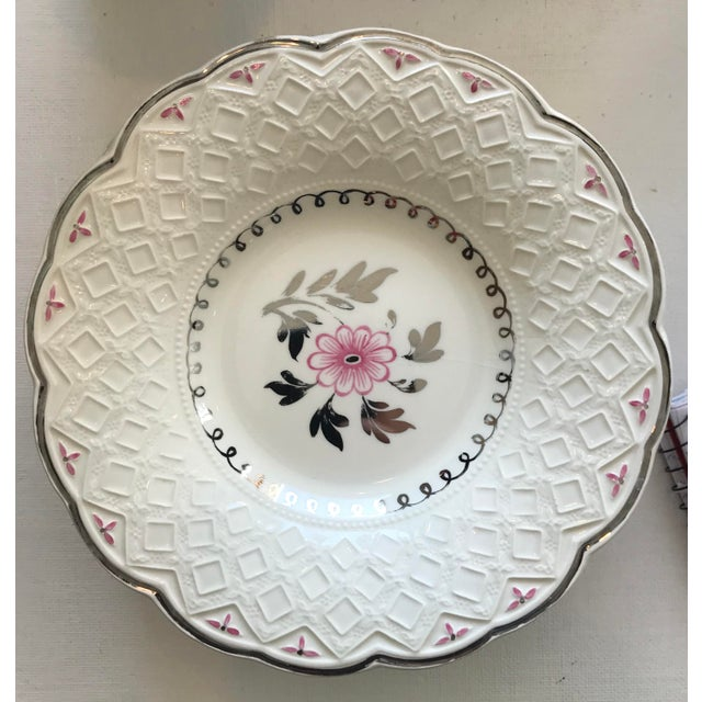 Vintage Wedgwood of Etruria and Barlaston Fine Bone China Pink & Silver Lustre Scalloped Edge Plates - Set of 7 For Sale In Houston - Image 6 of 13