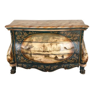 Vintage Italian Louis XV Style Hand Painted Bombe Chest For Sale