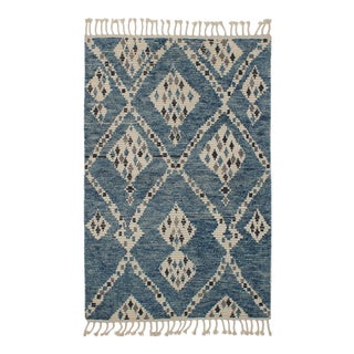 Moroccan Design Blue & Beige Diamond Design For Sale