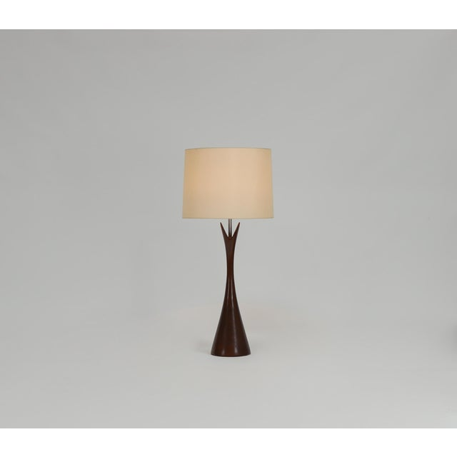 Pair of Large Turned Walnut Hourglass Form Lamps by Laurel For Sale In Boston - Image 6 of 7