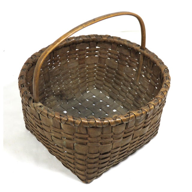 1910s 20th Century Rustic Maine Woven Basket For Sale - Image 5 of 13