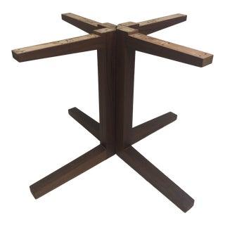 Vintage Mid Century Modern Wood Teak Pedestal Table Base For Sale