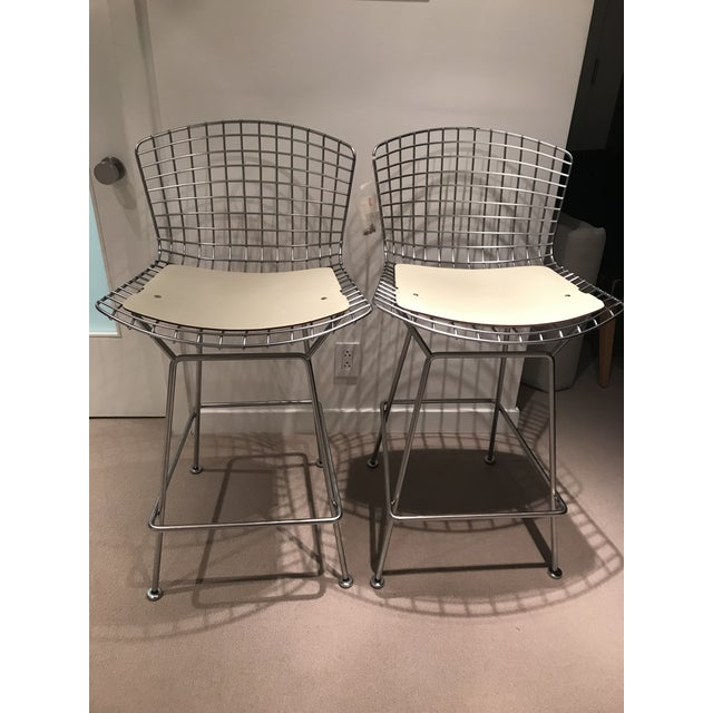 Knoll Harry Bertoia Counter Height Bar Stools W/ Cream Colored Cowhide Seat and Back Pads - a Pair For Sale - Image 13 of 13