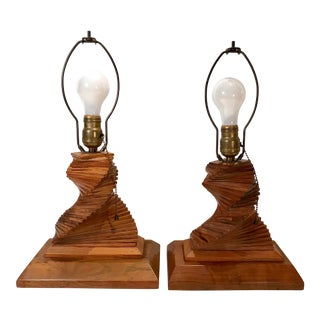 Vintage Wooden Brutalist Art Lamps - a Pair For Sale
