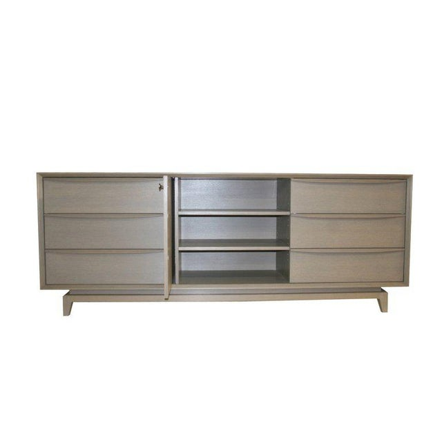 Gray Customizable Orlando Sculpted Handle Credenza For Sale - Image 8 of 10