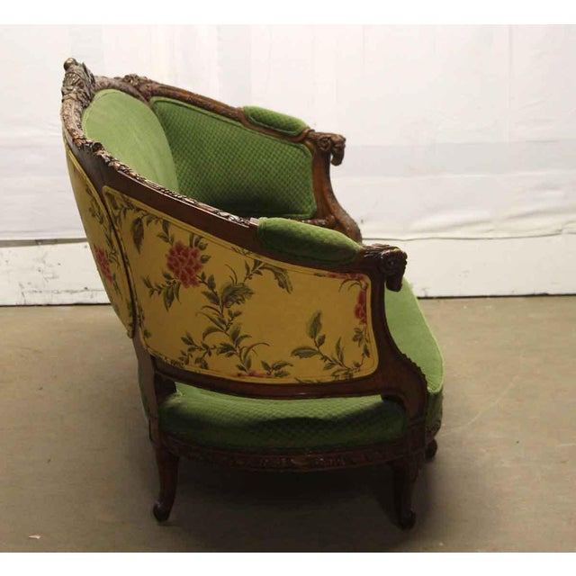 Carved Wood Frame & Green Upholstery Victorian Sofa For Sale - Image 10 of 13
