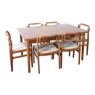 1960s Danish Modern Johannes Andersen Dining Table and Chairs - 7 Pieces For Sale