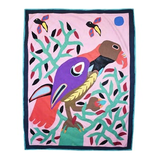 Brightly Colored Geometric Tropical Fabric Collage Tree of Life Parrot Wall Tapestry For Sale