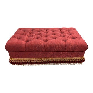 Custom Storage Tufted Ottoman + Fringe + Casters For Sale
