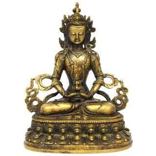 Tibetan Amitayus Buddha for Immortality, Mottled Gold Finish For Sale