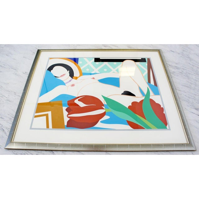 """For your consideration is a magnificent, framed lithograph of Tom Wesselmann's """"Monica with Tulips,"""" signed and numbered..."""