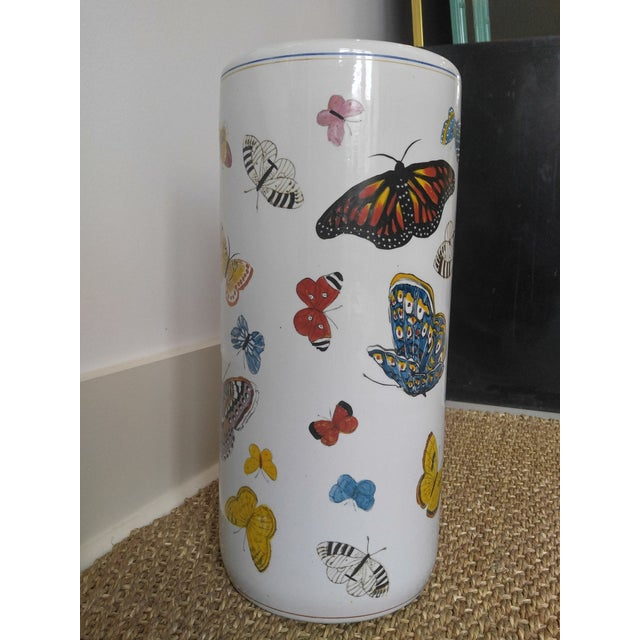 Boho Chic Butterfly Handpainted Ceramic Umbrella Stand For Sale - Image 3 of 9
