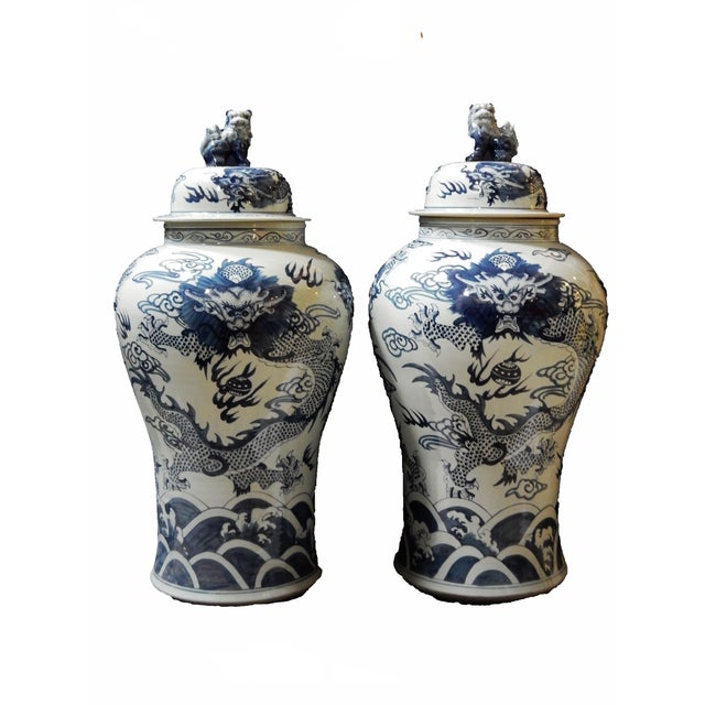 Mansion Size H. Painted Dragon Ginger Jars - a Pair - Image 7 of 9