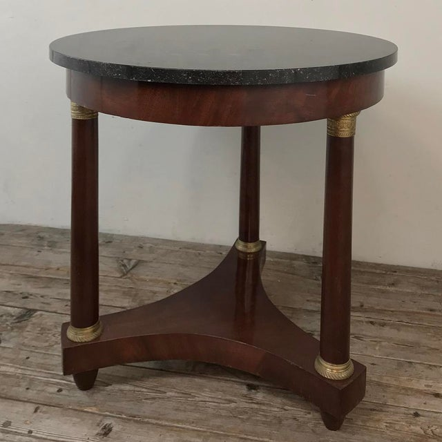 19th Century French Napoleon III Period Marble Top End Table ~ Gueridon is an example of the revival of the Empire style...