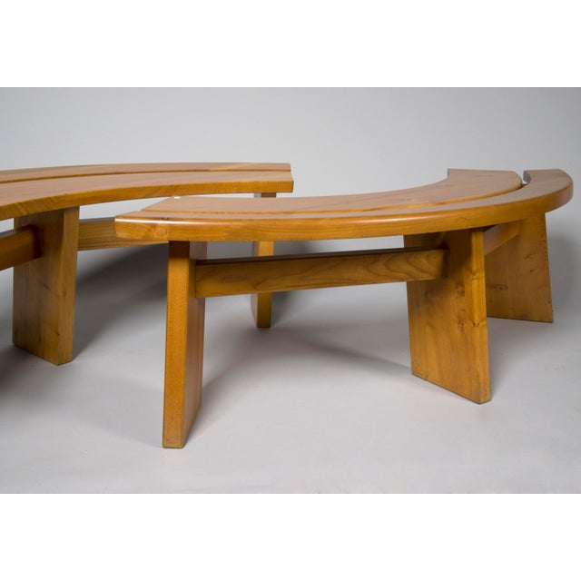 Mid-Century Modern Pierre Chapo Elm Dinig Table and 3 Benches For Sale - Image 3 of 10