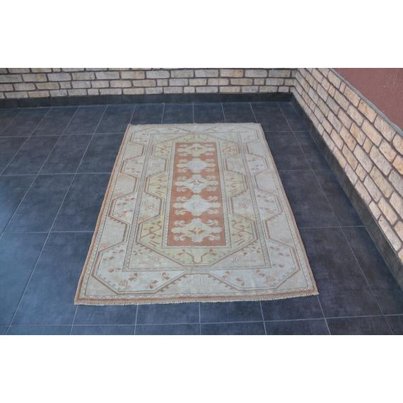 1960s Vintage Turkish Hand-Knotted Rug - 4′1″ × 5′11″ For Sale - Image 10 of 10