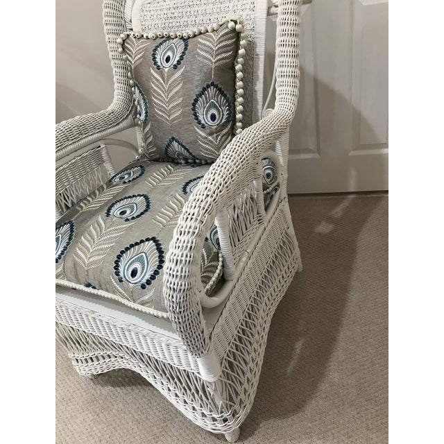 White Antique Scrolled Back Wicker & Cain Armchair - Image 3 of 7