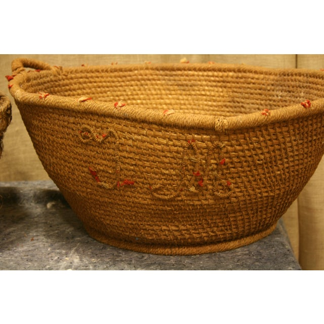 Rustic Early 20th Century Antique Spanish Handwoven Basket For Sale - Image 3 of 5