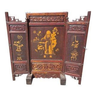 Antique Asian Screen With Gilt Decoration For Sale