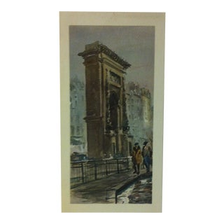 """Vintage - Color Print on Paper, """"Strolling by the Arch"""" - Circa 1940 For Sale"""