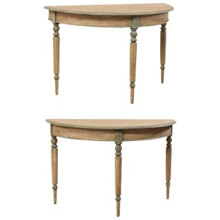 19th Century Swedish Painted Wood Demi-Lune Tables With Turned Legs - a Pair For Sale