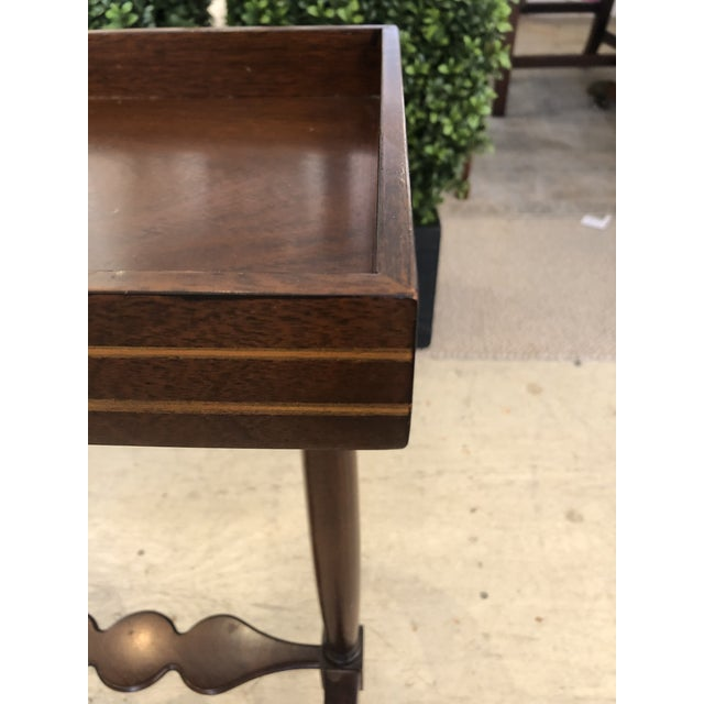 Mahogany Rectangular Small End Table With Banded Inlay For Sale - Image 4 of 11