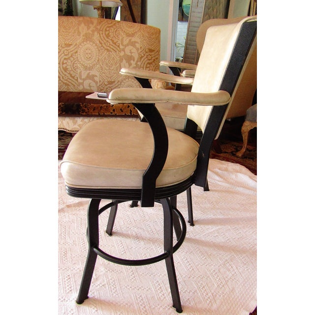 Industrial Style Iron and Pleather Swivel Bar Stools - a Pair For Sale In West Palm - Image 6 of 8