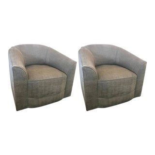 Gray Upholstered Barrel Swivel Chairs - a Pair
