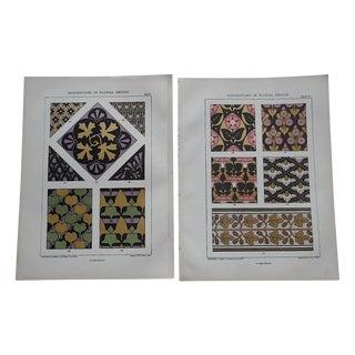 Ornamental Design Folio Size Chromolithograph - 2 For Sale