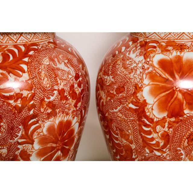 Orange and White Ceramic Lamps - A Pair For Sale - Image 11 of 13