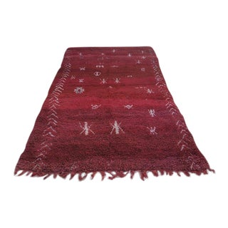 Vintage Moroccan Berber Red Wool Rug - 5′4″ × 21′9″ For Sale