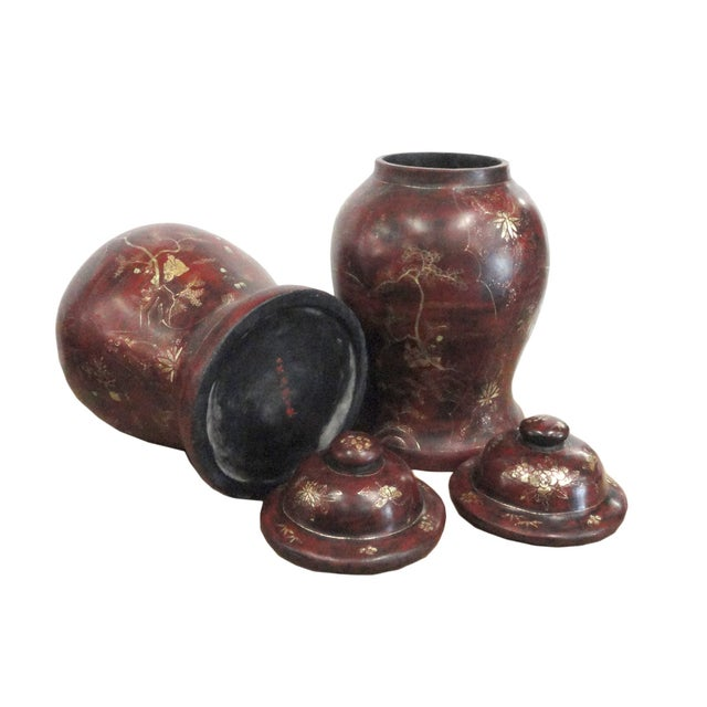 Brown Lacquer Godlen Scenery Jars - Pair - Image 4 of 6