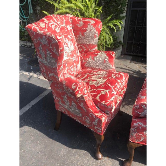 Queen Anne Petit Antique Queen Anne Wingback Arm Chairs with Red Romantic Velvet - a Pair For Sale - Image 3 of 5