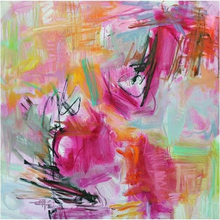 """Bouquet"" by Trixie Pitts Large Abstract Oil Painting 48""x48"" For Sale"