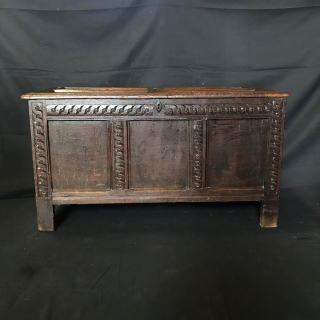 Antique 18th Century Paneled and Carved Scottish Coffer Chest For Sale - Image 10 of 13