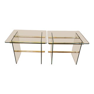20th Century Hollywood Regency Brass and Glass Side Table For Sale