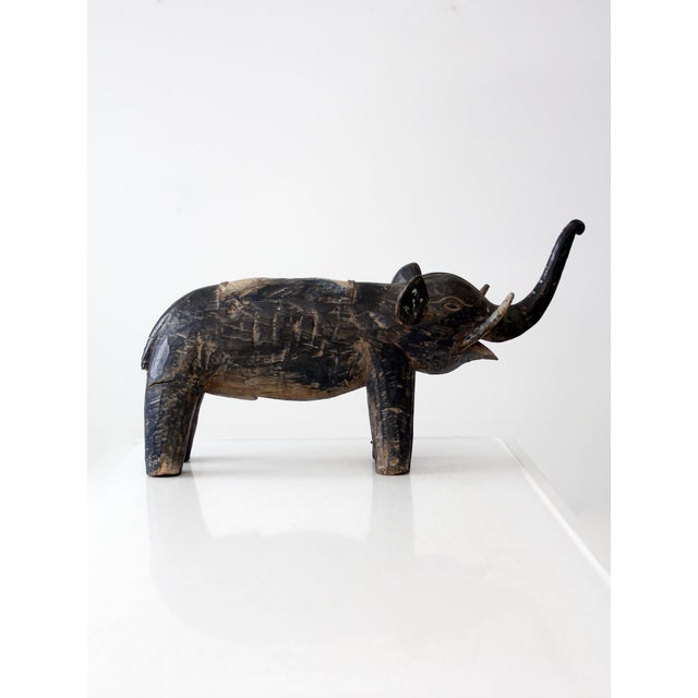 White Antique Wooden Elephant For Sale - Image 8 of 10