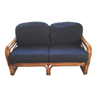 Late 20th Century Vintage Brown Jordan Rattan Loveseat For Sale