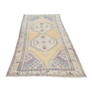 1950s Muted Boho Chic Oushak Hallway Rug- 4′2″ × 7′9″ For Sale