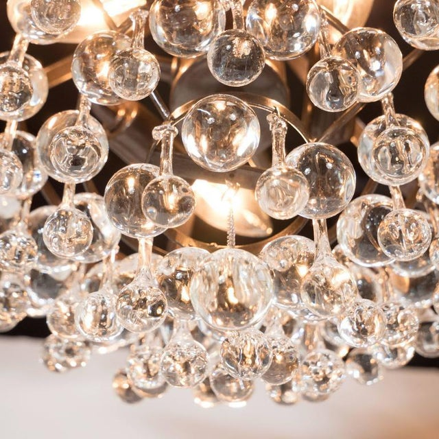 Gold Hollywood Regency Crystal Teardrop and Ball Chandelier with Bronze Fittings For Sale - Image 8 of 10