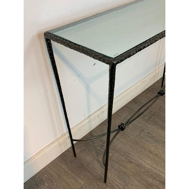 French Modern Cast Bronze and Glass Console Table For Sale - Image 9 of 10