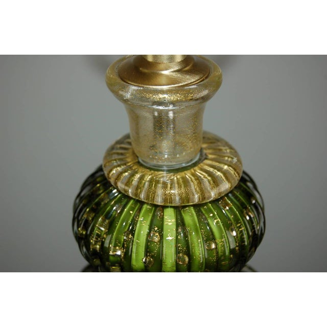 Vintage Murano Glass Table Lamps Green Gold For Sale In Little Rock - Image 6 of 10