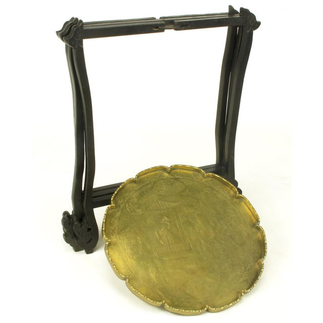 Carved Ebony Folding Table with Etched Brass Tray Top For Sale In Chicago - Image 6 of 9