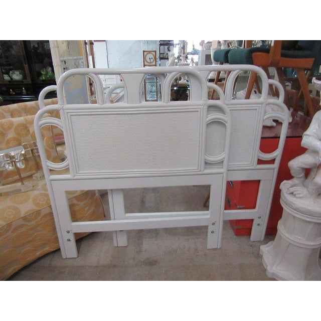 Ficks Reed White Rattan Twin Headboards - a Pair - Image 7 of 7